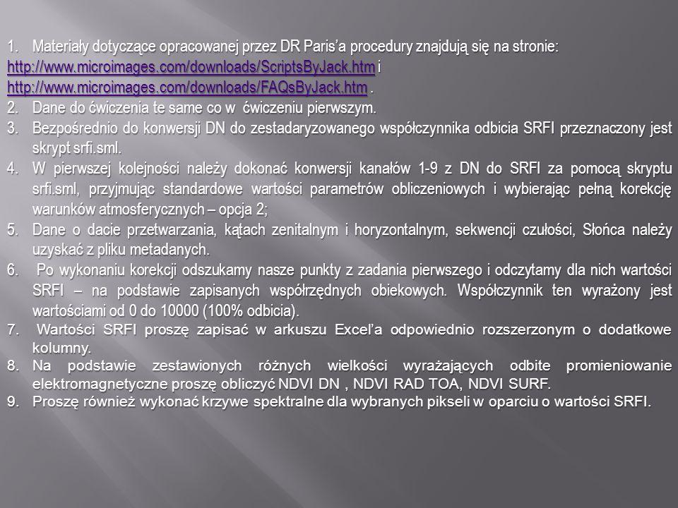 1.Materiały dotyczące opracowanej przez DR Parisa procedury znajdują się na stronie: http://www.microimages.com/downloads/ScriptsByJack.htmhttp://www.