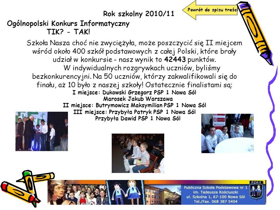 Rok szkolny 2010/11 Powrót do spisu treści Ogólnopolski Konkurs Informatyczny TIK? - TAK! Szkoła Nasza choć nie zwyciężyła, może poszczycić się II mie