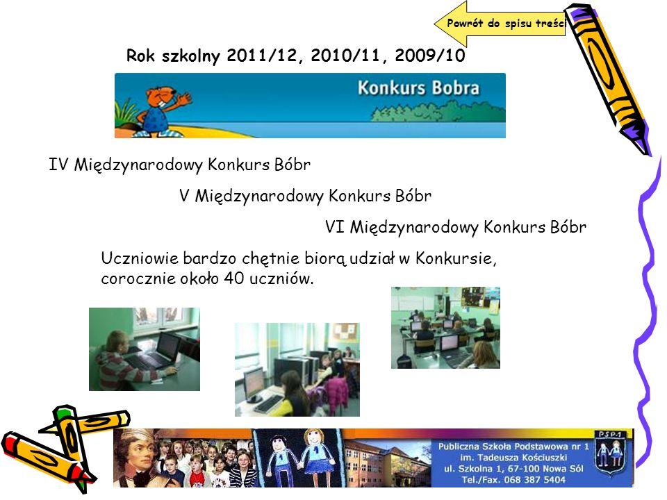 Rok szkolny 2011/12, 2010/11, 2009/10 IV Międzynarodowy Konkurs Bóbr V Międzynarodowy Konkurs Bóbr VI Międzynarodowy Konkurs Bóbr Uczniowie bardzo chę
