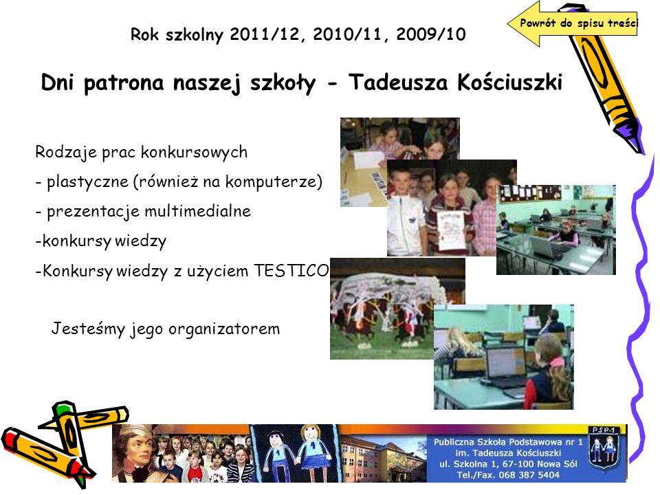 Rok szkolny 2011/12, 2010/11, 2009/10 Dni patrona naszej szkoły - Tadeusza Kościuszki Jesteśmy jego organizatorem Rodzaje prac konkursowych - plastycz