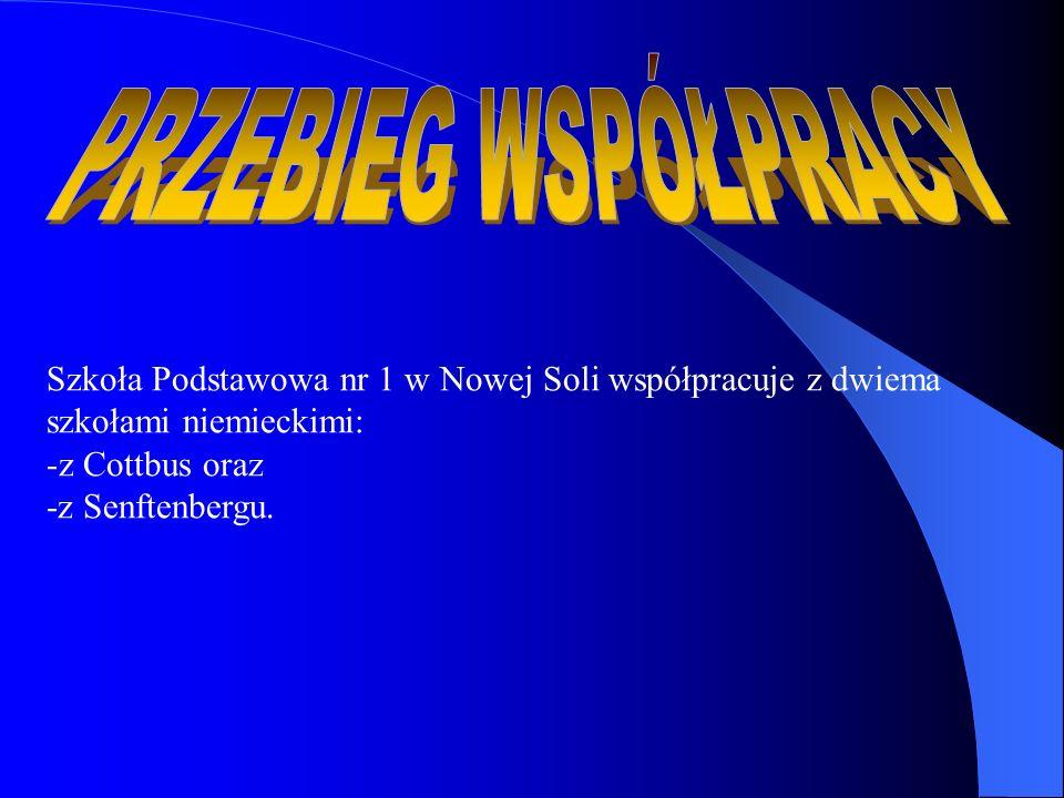 Szkoła Podstawowa nr 1 w Nowej Soli współpracuje z dwiema szkołami niemieckimi: -z Cottbus oraz -z Senftenbergu.