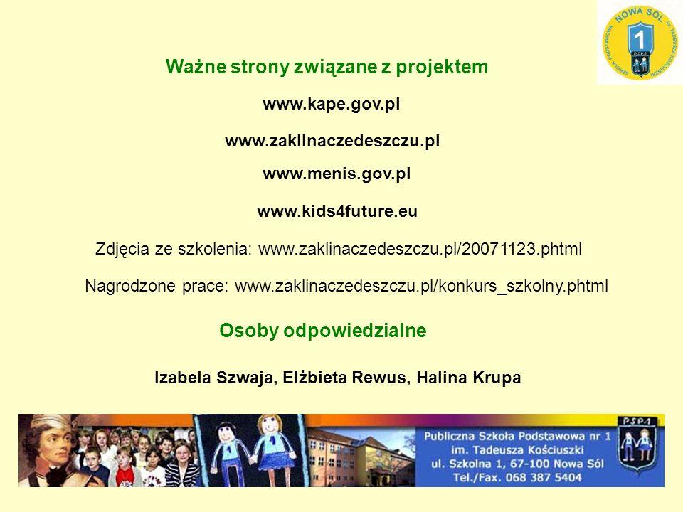 www.kape.gov.pl www.zaklinaczedeszczu.pl www.menis.gov.pl www.kids4future.eu Zdjęcia ze szkolenia: www.zaklinaczedeszczu.pl/20071123.phtml Nagrodzone prace: www.zaklinaczedeszczu.pl/konkurs_szkolny.phtml Ważne strony związane z projektem Osoby odpowiedzialne Izabela Szwaja, Elżbieta Rewus, Halina Krupa