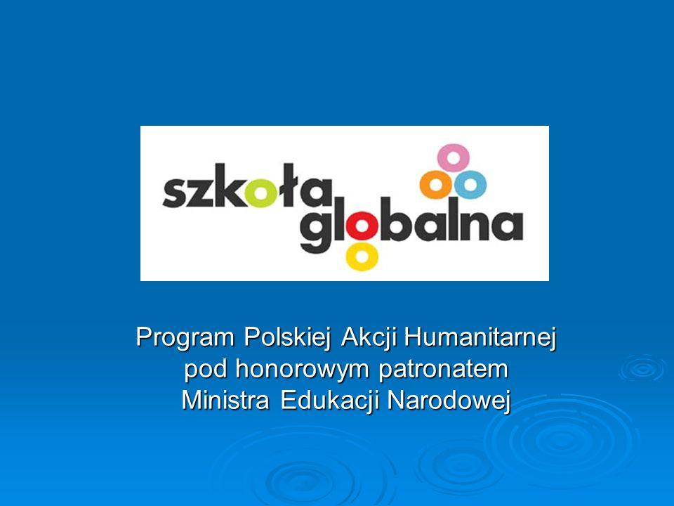 Cele programu Rozbudzenie wśród uczniów zainteresowania tematyką globalną Rozbudzenie wśród uczniów zainteresowania tematyką globalną Kształtowanie postawy humanitarnej Kształtowanie postawy humanitarnej Kształtowanie postaw otwartości, szacunku dla drugiego człowieka, gotowości niesienia pomocy Kształtowanie postaw otwartości, szacunku dla drugiego człowieka, gotowości niesienia pomocy Zaangażowanie dzieci w działania krzewiące poczucie odpowiedzialności za losy świata Zaangażowanie dzieci w działania krzewiące poczucie odpowiedzialności za losy świata Doskonalenie umiejętności pracy zespołowej Doskonalenie umiejętności pracy zespołowej