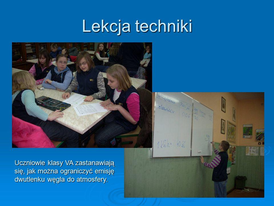 Lekcja techniki Uczniowie klasy VA zastanawiają się, jak można ograniczyć emisję dwutlenku węgla do atmosfery.