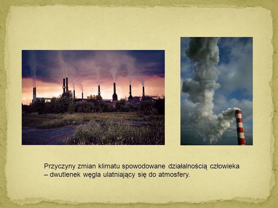 Przyczyny zmian klimatu spowodowane działalnością człowieka – dwutlenek węgla ulatniający się do atmosfery.