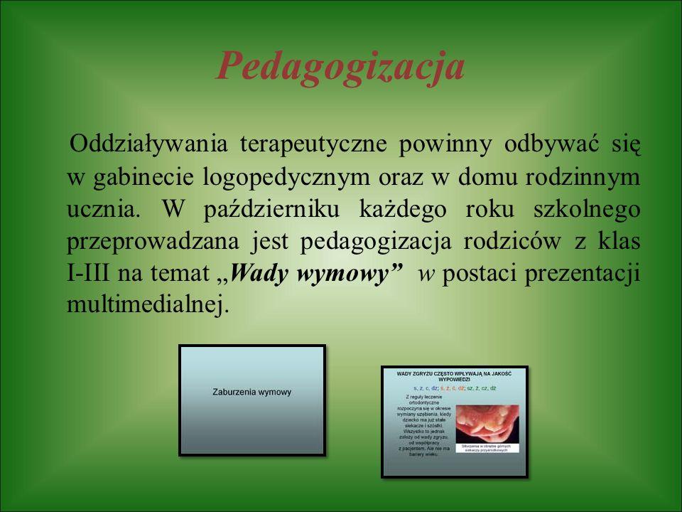 Pedagogizacja Oddziaływania terapeutyczne powinny odbywać się w gabinecie logopedycznym oraz w domu rodzinnym ucznia. W październiku każdego roku szko
