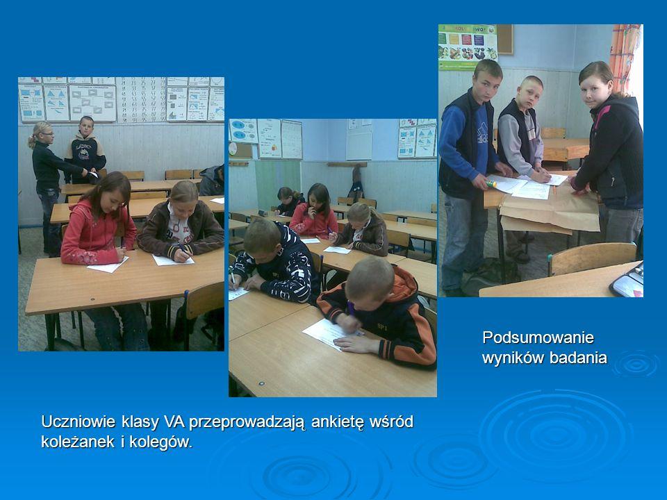 Uczniowie klasy VA przeprowadzają ankietę wśród koleżanek i kolegów. Podsumowanie wyników badania