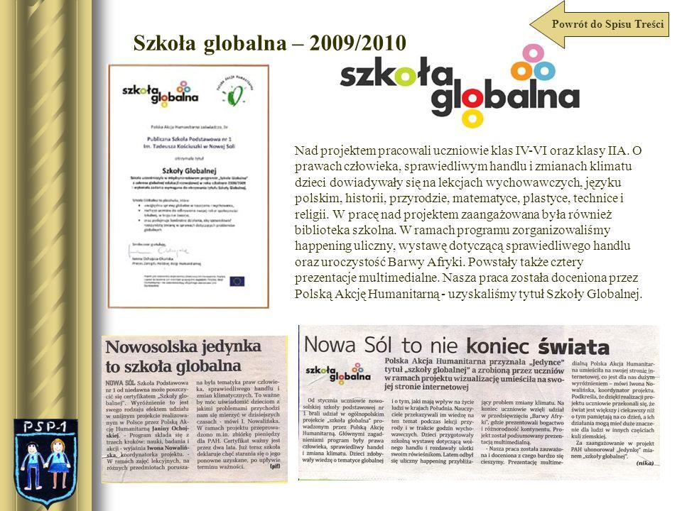 Szkoła globalna – 2009/2010 Nad projektem pracowali uczniowie klas IV-VI oraz klasy IIA. O prawach człowieka, sprawiedliwym handlu i zmianach klimatu