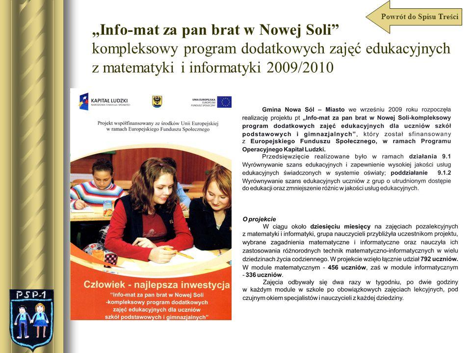 Info-mat za pan brat w Nowej Soli kompleksowy program dodatkowych zajęć edukacyjnych z matematyki i informatyki 2009/2010