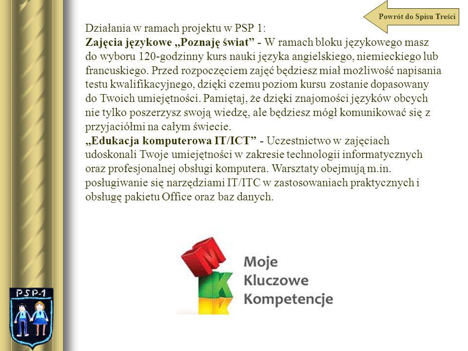 Działania w ramach projektu w PSP 1: Zajęcia językowe Poznaję świat - W ramach bloku językowego masz do wyboru 120-godzinny kurs nauki języka angielsk