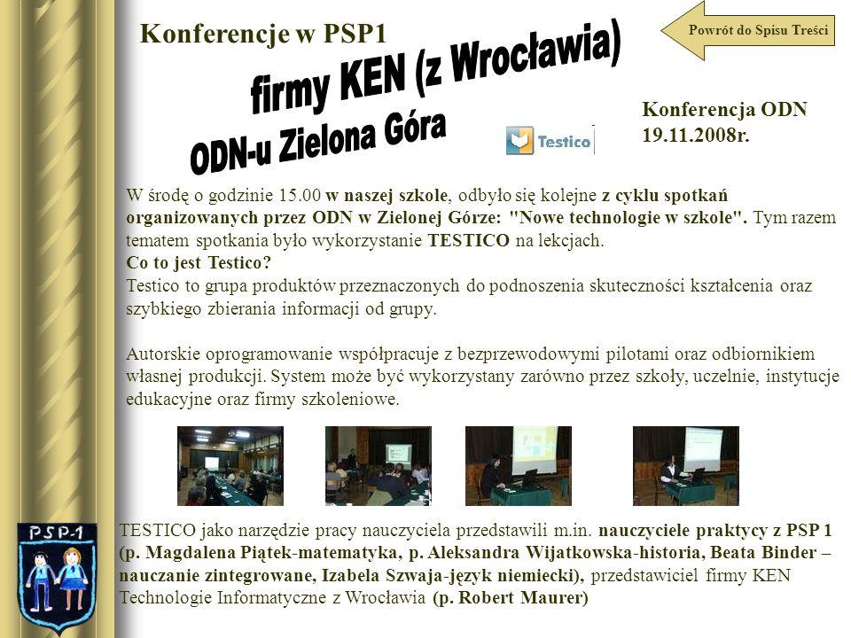 Powrót do Spisu Treści Konferencje w PSP1 W środę o godzinie 15.00 w naszej szkole, odbyło się kolejne z cyklu spotkań organizowanych przez ODN w Ziel