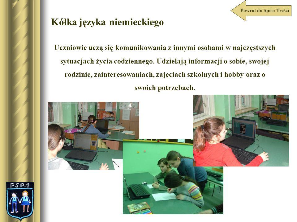 Powrót do Spisu Treści Kółka języka angielskiego W zajęciach kółka języka angielskiego aktywnie uczestniczy dzieci z klas IV-VI.