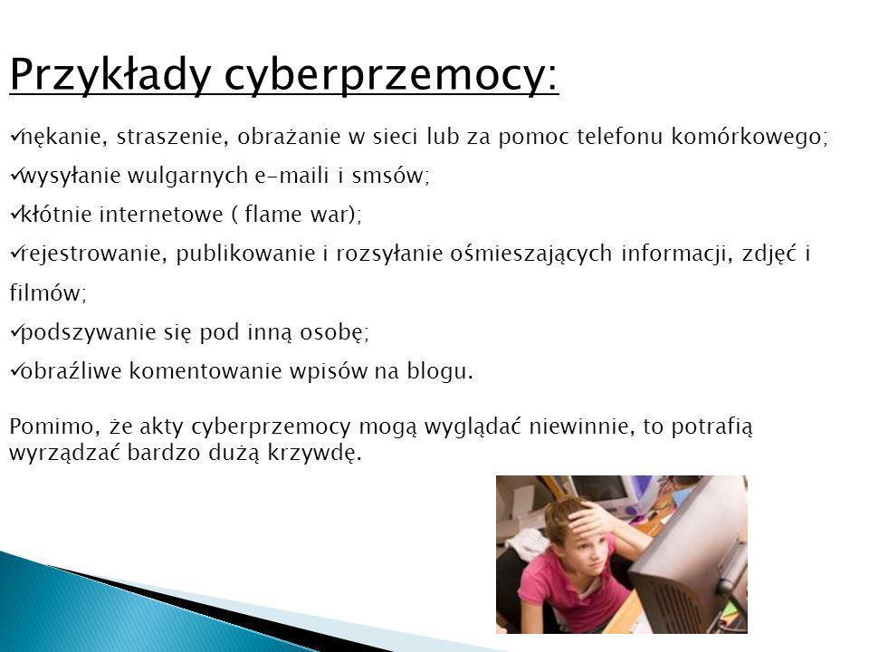 Przykłady cyberprzemocy: nękanie, straszenie, obrażanie w sieci lub za pomoc telefonu komórkowego; wysyłanie wulgarnych e-maili i smsów; kłótnie internetowe ( flame war); rejestrowanie, publikowanie i rozsyłanie ośmieszających informacji, zdjęć i filmów; podszywanie się pod inną osobę; obraźliwe komentowanie wpisów na blogu.