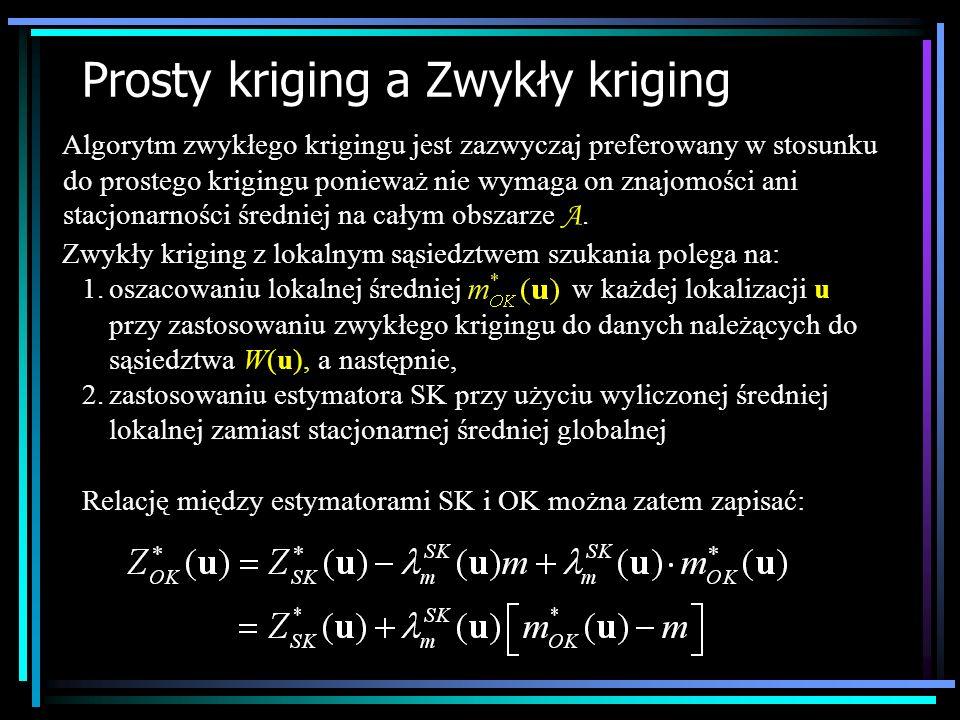Prosty kriging a Zwykły kriging Algorytm zwykłego krigingu jest zazwyczaj preferowany w stosunku do prostego krigingu ponieważ nie wymaga on znajomośc