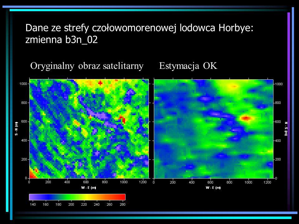 Dane ze strefy czołowomorenowej lodowca Horbye: zmienna b3n_02 Oryginalny obraz satelitarnyEstymacja OK