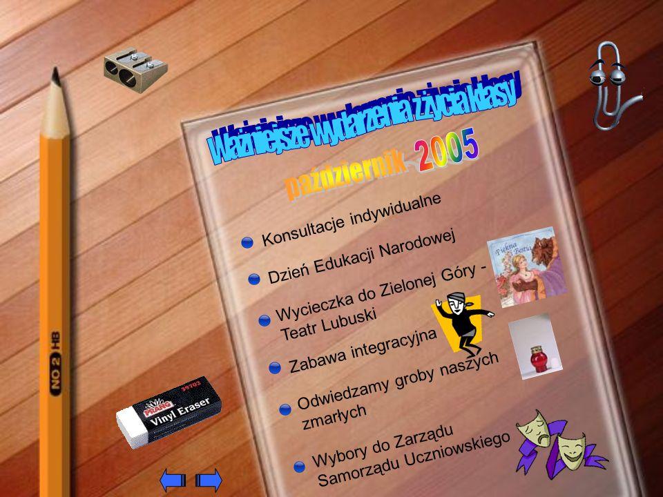 Konkurs plastyczno – literacki Prezent dla Kubusia Puchatka Akademia z okazji święta Niepodległości Zebranie z rodzicami Zabawa andrzejkowa Akcja Dzieci – Dzieciom