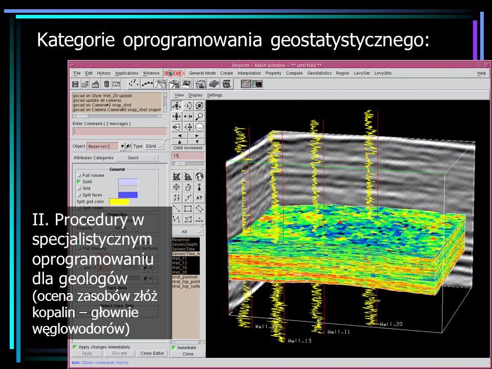 Kategorie oprogramowania geostatystycznego: Podsumowanie Specjalistyczne programy komercyjnie: Isatis, GS+ Procedury w specjalistycznym oprogramowaniu dla geologów: RML- HereSIM, LevySIM, GMS, RockWorks Wbudowane procedury lub dodatkowe moduły w komercyjnych pakietach GIS: Idrisi, ArcGIS, MapInfo Wbudowane procedury lub dodatkowe moduły w pakietach GIS typu open source : SAGA, ILWIS Wbudowane procedury lub dodatkowe moduły w komercyjnych pakietach statystycznych (matematycznych): GenStat, S-Plus, MatLab Geostatystyka w CRAN R – oprogramowanie statystyczne typu open source: gstat, geoR Publicznie dostępne oprogramowanie z chronionym kodem źródłowym: Vesper, VarioWin Publicznie dostępne oprogramowanie typu open source : GsLib, S-GeMS, gstat, UNCERT Publikowane w Computers & Geosciences kody źródłowe algorytmów Oprogramowanie dydaktyczne: E(Z)-Kriging