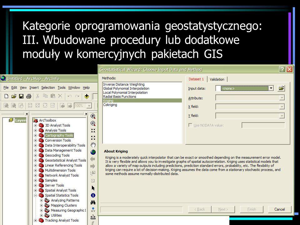 Kategorie oprogramowania geostatystycznego: IV.