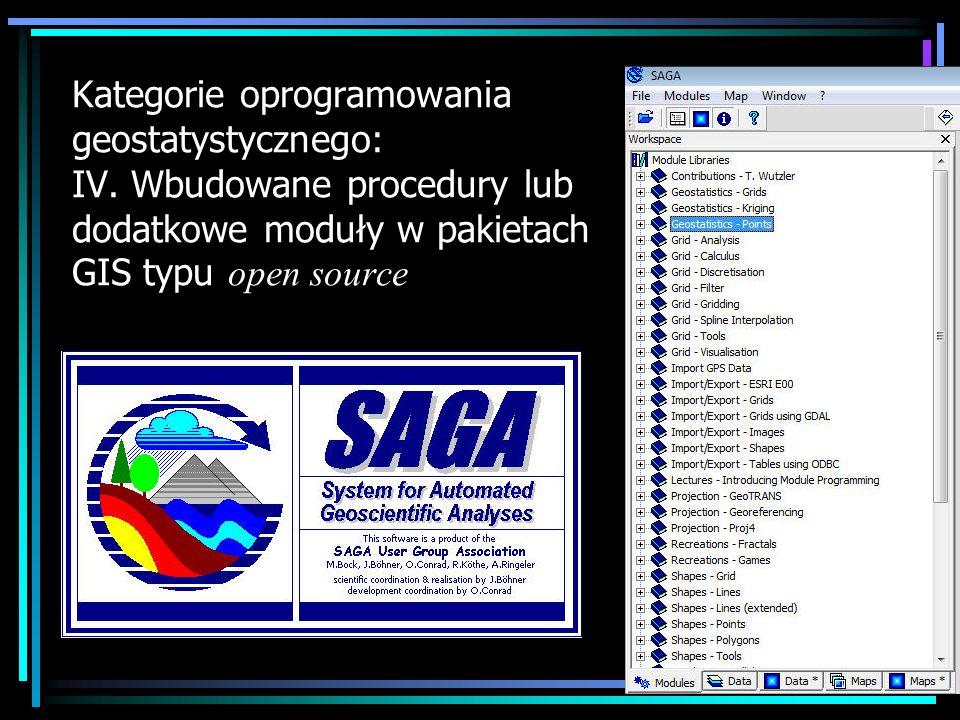 Kategorie oprogramowania geostatystycznego: V.