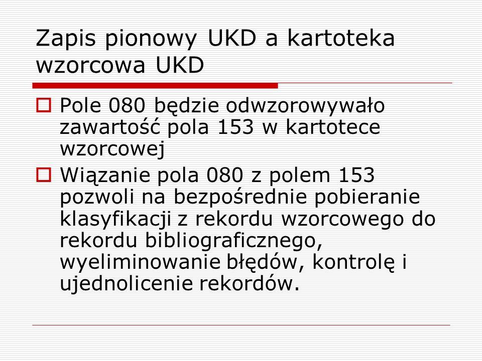 Zapis pionowy UKD a kartoteka wzorcowa UKD Pole 080 będzie odwzorowywało zawartość pola 153 w kartotece wzorcowej Wiązanie pola 080 z polem 153 pozwol