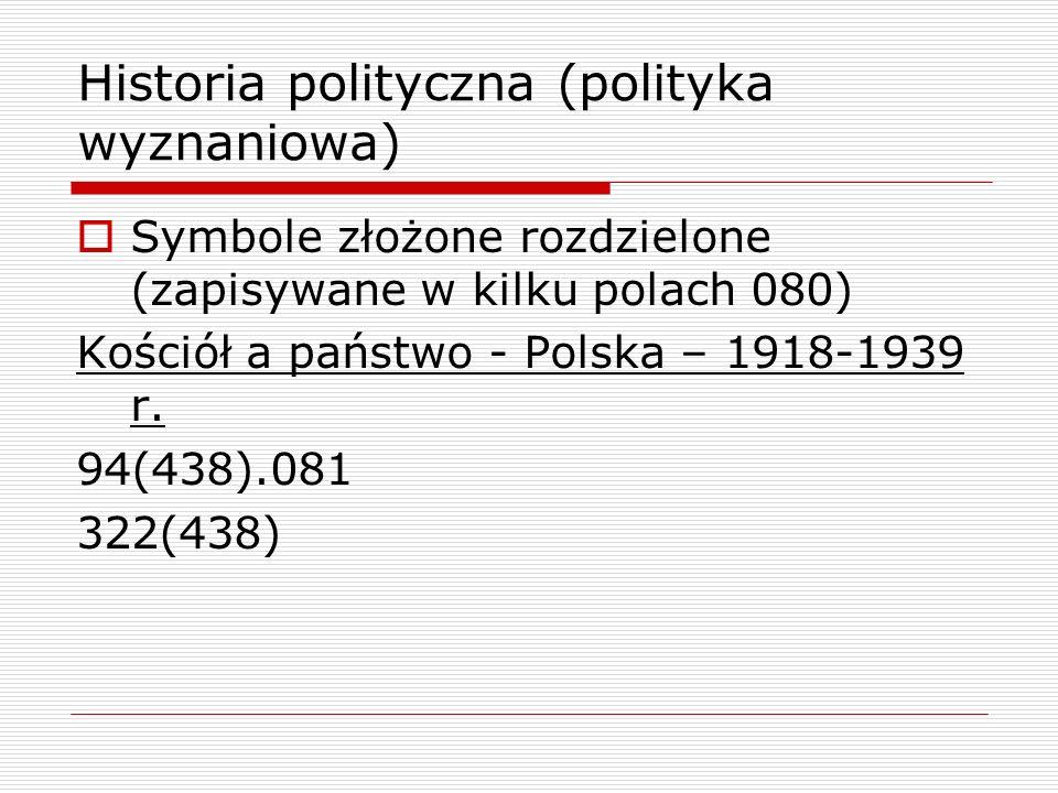 Historia polityczna (polityka wyznaniowa) Symbole złożone rozdzielone (zapisywane w kilku polach 080) Kościół a państwo - Polska – 1918-1939 r. 94(438
