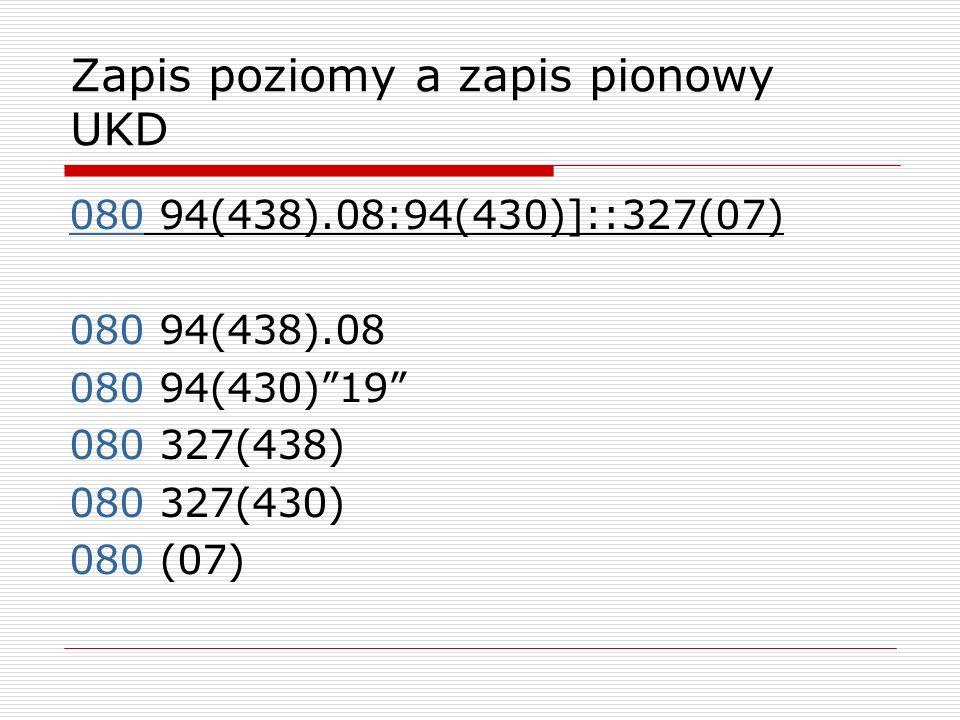 Zapis poziomy a zapis pionowy UKD 080 94(438).08:94(430)]::327(07) 080 94(438).08 080 94(430)19 080 327(438) 080 327(430) 080 (07)