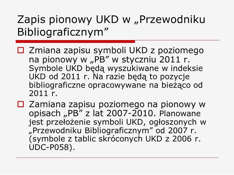 Zapis pionowy UKD w Przewodniku Bibliograficznym Zmiana zapisu symboli UKD z poziomego na pionowy w PB w styczniu 2011 r. Symbole UKD będą wyszukiwane