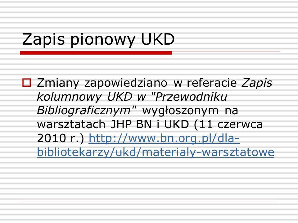 Zapis pionowy UKD Zmiany zapowiedziano w referacie Zapis kolumnowy UKD w
