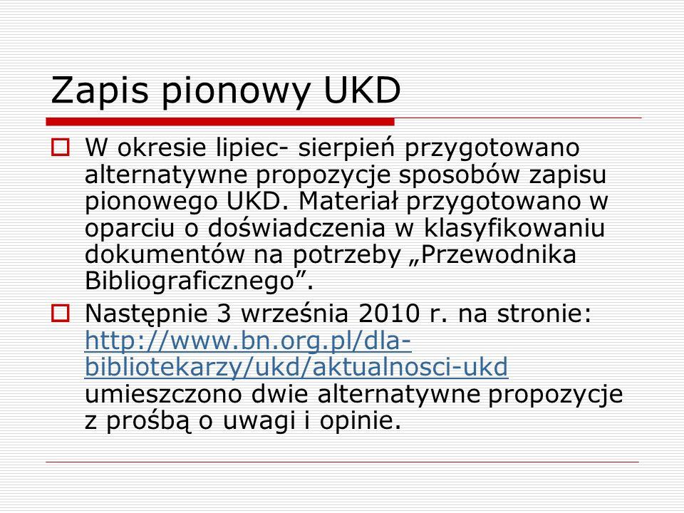 Zapis pionowy UKD W okresie lipiec- sierpień przygotowano alternatywne propozycje sposobów zapisu pionowego UKD. Materiał przygotowano w oparciu o doś