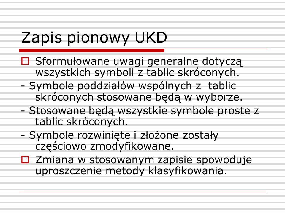 Zapis pionowy UKD Sformułowane uwagi generalne dotyczą wszystkich symboli z tablic skróconych. - Symbole poddziałów wspólnych z tablic skróconych stos