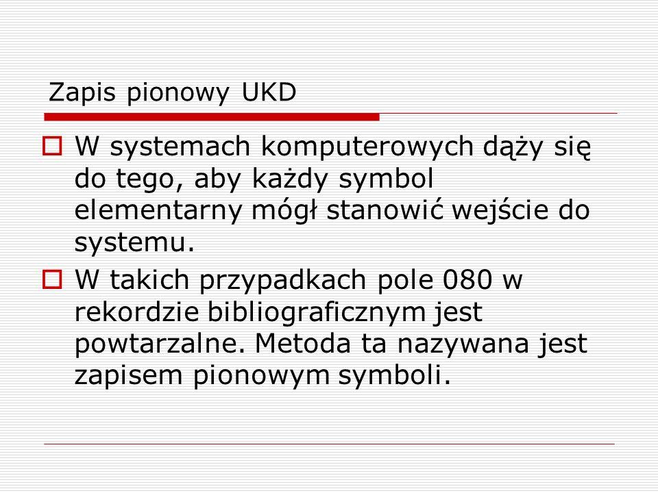 Zapis pionowy UKD W systemach komputerowych dąży się do tego, aby każdy symbol elementarny mógł stanowić wejście do systemu. W takich przypadkach pole
