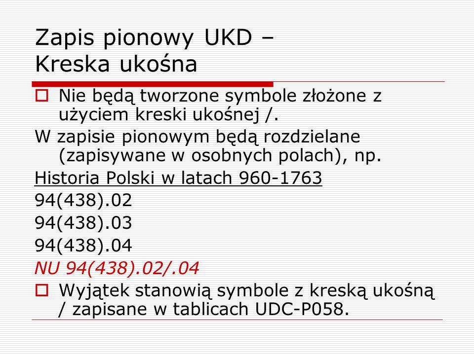 Zapis pionowy UKD – Kreska ukośna Nie będą tworzone symbole złożone z użyciem kreski ukośnej /. W zapisie pionowym będą rozdzielane (zapisywane w osob