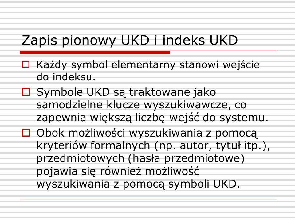 Zapis pionowy UKD i indeks UKD Każdy symbol elementarny stanowi wejście do indeksu. Symbole UKD są traktowane jako samodzielne klucze wyszukiwawcze, c