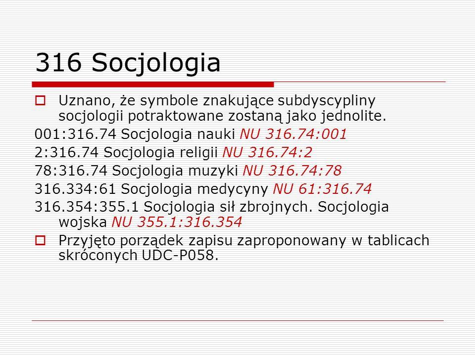 316 Socjologia Uznano, że symbole znakujące subdyscypliny socjologii potraktowane zostaną jako jednolite. 001:316.74 Socjologia nauki NU 316.74:001 2: