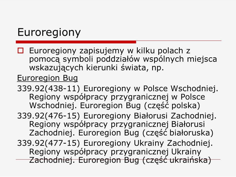 Euroregiony Euroregiony zapisujemy w kilku polach z pomocą symboli poddziałów wspólnych miejsca wskazujących kierunki świata, np. Euroregion Bug 339.9