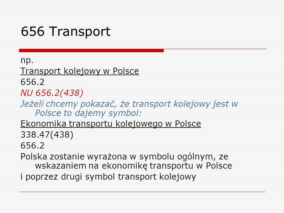 656 Transport np. Transport kolejowy w Polsce 656.2 NU 656.2(438) Jeżeli chcemy pokazać, że transport kolejowy jest w Polsce to dajemy symbol: Ekonomi
