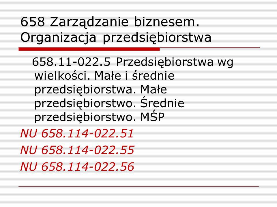 658 Zarządzanie biznesem. Organizacja przedsiębiorstwa 658.11-022.5 Przedsiębiorstwa wg wielkości. Małe i średnie przedsiębiorstwa. Małe przedsiębiors
