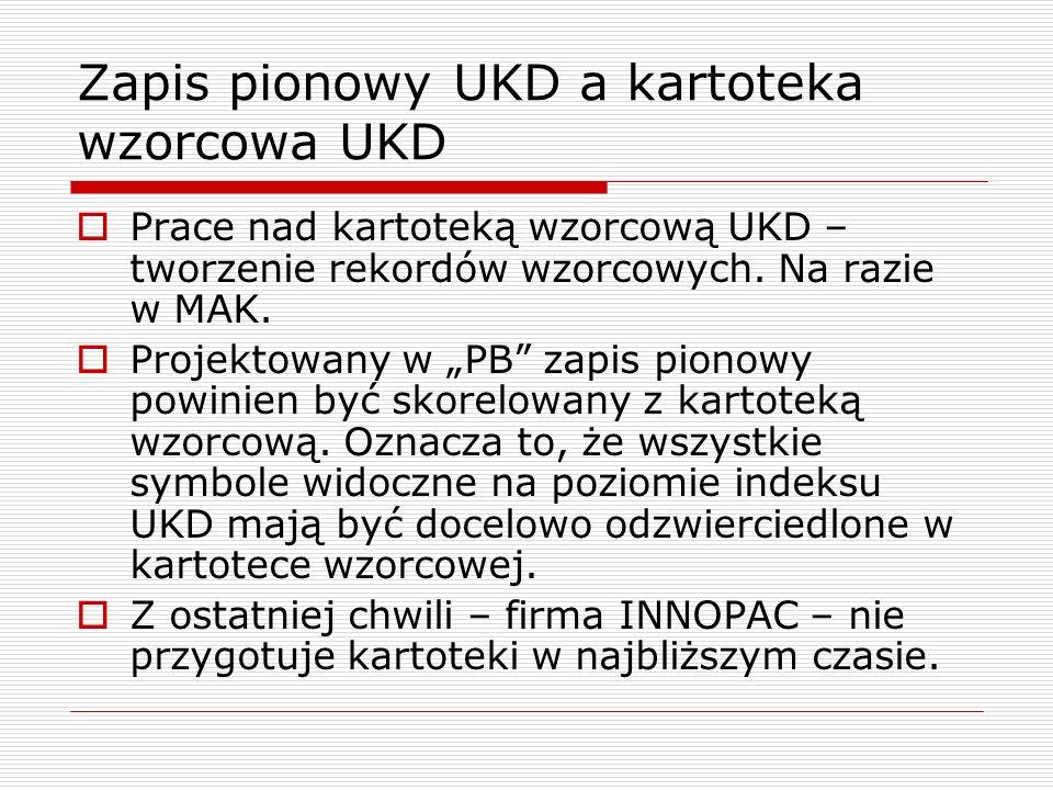 Zapis pionowy UKD a kartoteka wzorcowa UKD Prace nad kartoteką wzorcową UKD – tworzenie rekordów wzorcowych. Na razie w MAK. Projektowany w PB zapis p