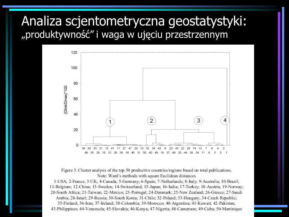 Analiza scjentometryczna geostatystyki: produktywność i waga w ujęciu przestrzennym