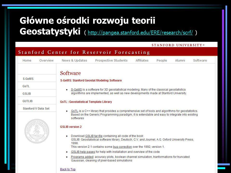 Główne ośrodki rozwoju teorii Geostatystyki ( http://pangea.stanford.edu/ERE/research/scrf/ )http://pangea.stanford.edu/ERE/research/scrf/
