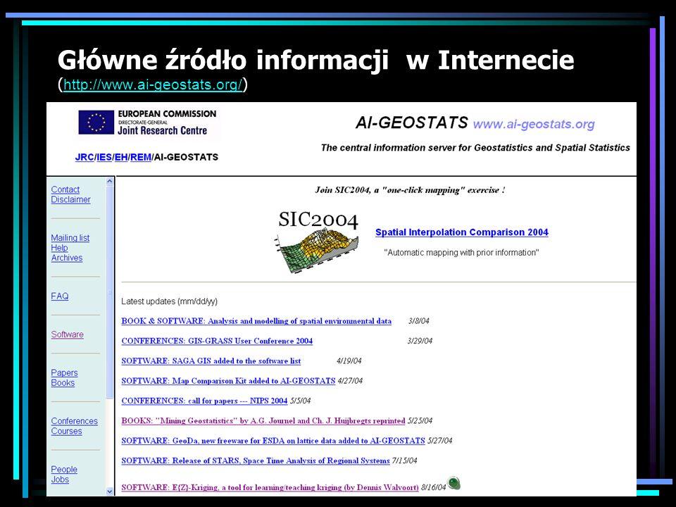 Główne źródło informacji w Internecie ( http://www.ai-geostats.org/ ) http://www.ai-geostats.org/