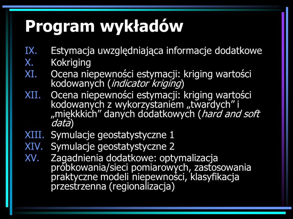 Program wykładów IX.Estymacja uwzględniająca informacje dodatkowe X.Kokriging XI.Ocena niepewności estymacji: kriging wartości kodowanych (indicator k