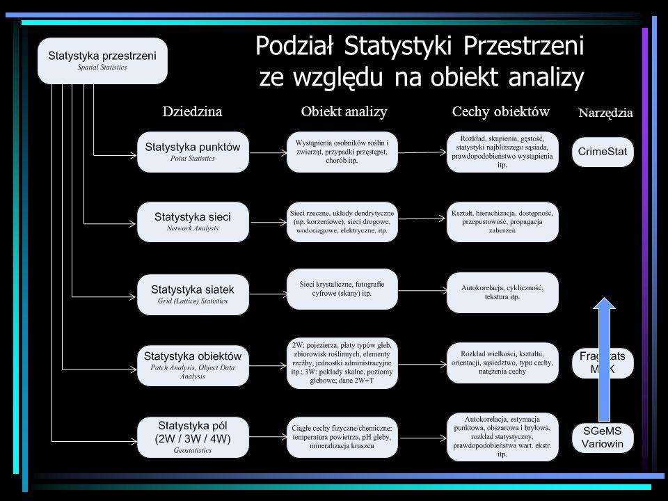 Podział Statystyki Przestrzeni ze względu na obiekt analizy DziedzinaObiekt analizyCechy obiektów Narzędzia