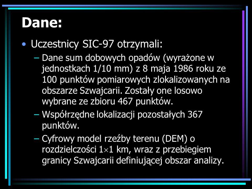 Dane: Uczestnicy SIC-97 otrzymali: –Dane sum dobowych opadów (wyrażone w jednostkach 1/10 mm) z 8 maja 1986 roku ze 100 punktów pomiarowych zlokalizow