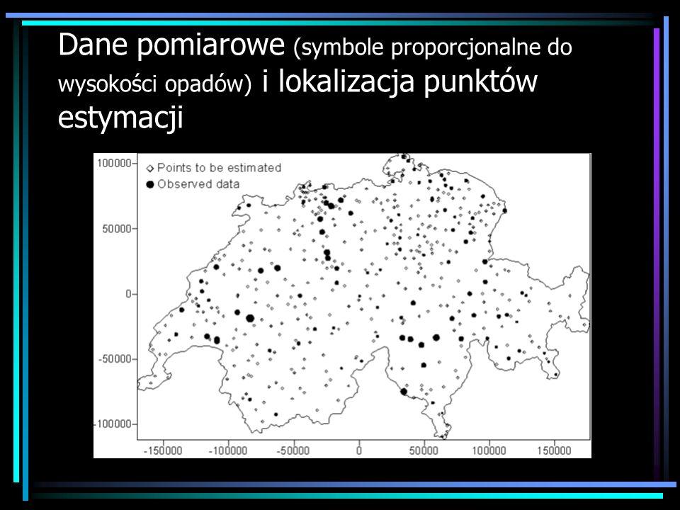 Dane pomiarowe (symbole proporcjonalne do wysokości opadów) i lokalizacja punktów estymacji