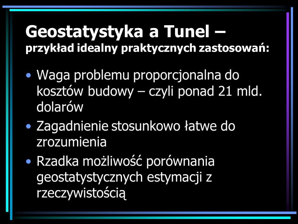 Geostatystyka a Tunel – przykład idealny praktycznych zastosowań: Waga problemu proporcjonalna do kosztów budowy – czyli ponad 21 mld. dolarów Zagadni