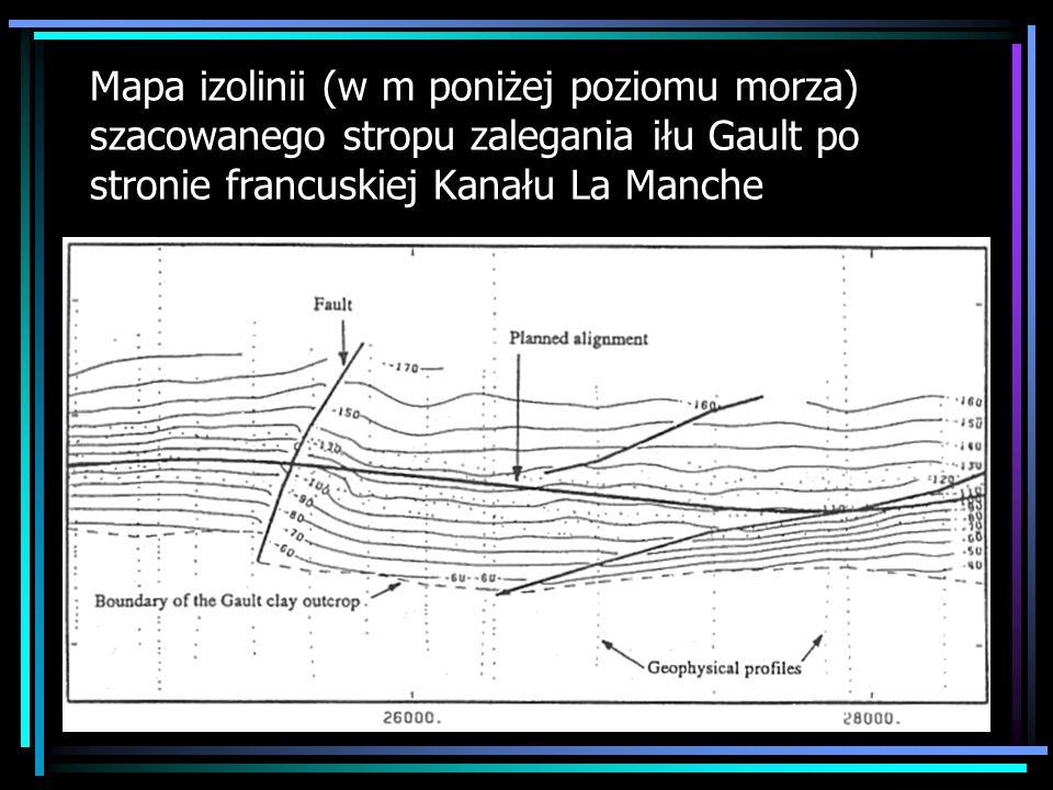 Mapa izolinii (w m poniżej poziomu morza) szacowanego stropu zalegania iłu Gault po stronie francuskiej Kanału La Manche