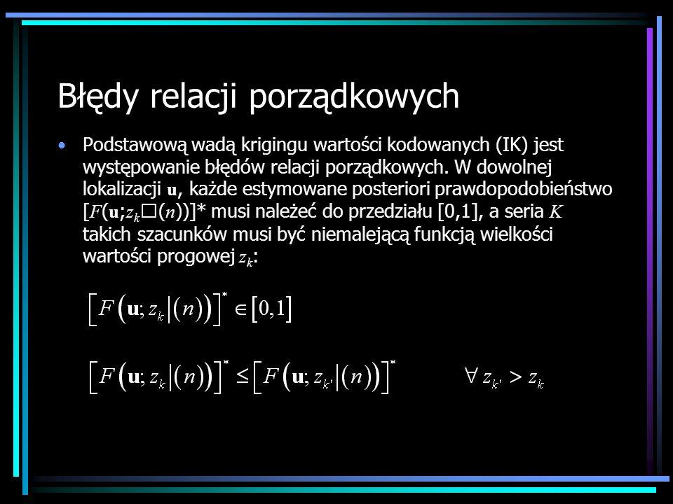 Błędy relacji porządkowych Podstawową wadą krigingu wartości kodowanych (IK) jest występowanie błędów relacji porządkowych. W dowolnej lokalizacji u,