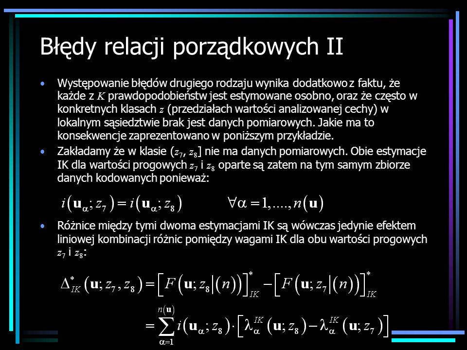 Błędy relacji porządkowych II Występowanie błędów drugiego rodzaju wynika dodatkowo z faktu, że każde z K prawdopodobieństw jest estymowane osobno, or