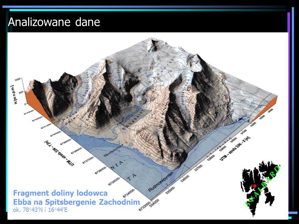Analizowane dane Fragment doliny lodowca Ebba na Spitsbergenie Zachodnim ok. 78 43N i 16 44E
